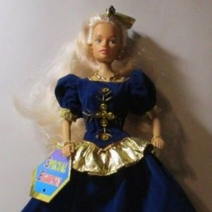 """11"""" Doll 1990s Gold Blue Shoe Dress Gown Necklace"""